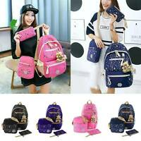 3Pcs Ladies Fashion Travel Canvas Rucksack Backpack Pink School Shoulder Bag