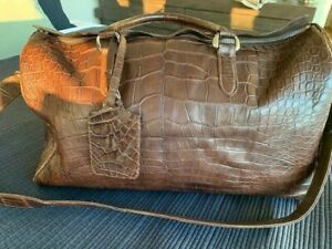 AUTH BELLY CROCODILE ALLIGATOR Overnight Bag - Chocolate Brown