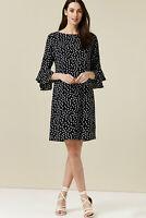 Wallis PETITE Black & White Polka Dot Flute Sleeve Fully Lined Shift Dress