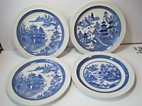 The Spode Blue Room Collection Willow Series Complete Set Of 4 Dinner Plates