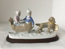 VINTAGE PAUL SEBASTIAN SLEIGH RIDE FINE PORCELAIN HANDCRAFTED FIGURINE EXCEL CON