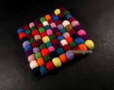F64 felt ball pom pom handcraft wool square Christmas gift tea coaster mat Nepal