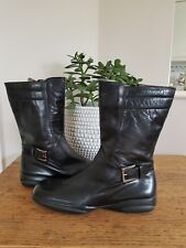Fratelli Rossetti Size 3 Black Genuine Leather Mid Calf Casual Low Wedge Boots N