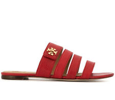 Tory Burch Women's Kira Slides Flat Shoes Sandals Ruby Red Leather Strappy