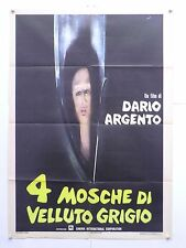 QUATTRO MOSCHE DI VELLUTO GRIGIO thriller D.Argento Michael Brandon manif. 1971