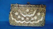 Vintage Silver Beaded Evening Bag Purse Clutch 1950's Hollywood Satin Romance