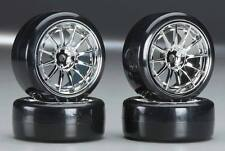 Type4 Chrome Wheels With Hard Drifting Tires 1/10th Scale 26mm (4pc) RC Drift