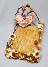 Vintage Folk Art Pussywillow Dried Flower Twig Heart Pillow Doll Prop Bed