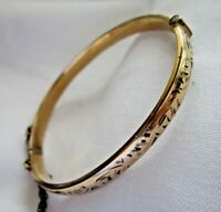 Classic vintage  jewellery 1/5th 9ct  gold metal core hinged bangle