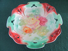 Antique Lg Colorful Serving Bowl Featuring Roses & Cut Out Rim