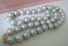 HUGE SOUTH SEA 11-12MM TAHITIAN GRAY PEARL NECKLACE 14K 18 INCH