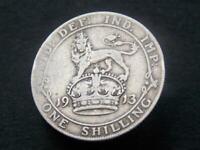 1913 Solid Sterling Silver Vintage Kings Shilling George V United Kingdom C079