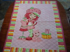 """Strawberry Shortcake And Kitty Baby Quilt 35"""" By 44"""" New"""