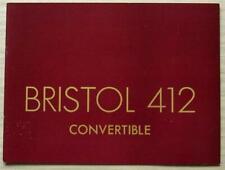 BRISTOL 412 CONVERTIBLE Car Sales Brochure 1975