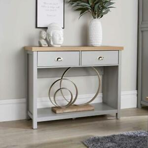 Grey Oak Console Table 2 Drawer Telephone Table Metal Handles Hallay Storage