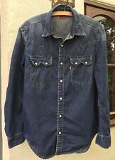 Levi's Long Sleeve Vintage Blue Denim Sawtooth Shirt Size M Perfect