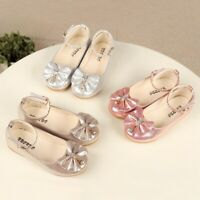 Children Kids Baby Girls Party Princess Shoes Bow Bling Pearl Single Dance Shoes