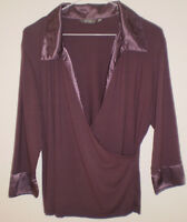 💜 M&S Marks and Spencer Per Una Lilac Purple Satin Trim Tunic Top Size 16 💜