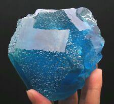 1071g WOW!!! Rare Ladder-like Blue Fluorite & Calcite Symbiosis Specimen/China