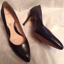 New👠Clarks👠Size 7.5 D Cedar Chest Black Leather Court Softwear Shoes 41.5EU