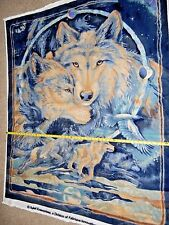 """Wolf Running Wolves Moon NICE PANEL 50"""" x 57"""" By Sykel 1397  FLEECE Fabric"""