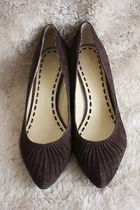 Enzo Angiolini Brown Soft Suede Upper Leather Wedge Heels size 10M