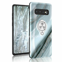 For Samsung Galaxy S10e S10 S9 Plus Ring Holder Stand [Marble][Gray] Case Cover