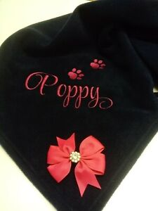 Personalised pet blanket, fleece, embroidered name accessories, gift, baby
