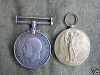 GENUINE BRITISH ARMY WW1 MEDAL PAIR OF WAR AND VICTORY MEDALS -R.A.F REG