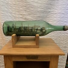 "Antique Ship in a Bottle - 22"" - Four 4 Mast Ship Green Bottle Village"