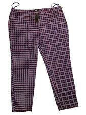 NWT George Womens Red Geometric Pattern Tapered Chino Smart Trousers, Size 16