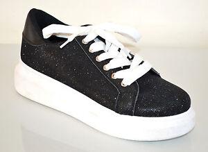 MOCASSINI NERI donna scarpe zeppa brillantinate suola gomma bianca lacci F3X