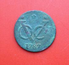 Países Bajos: VOC 1 Duit 1787 Star, Rare, provincia West-Friesland, # f 2290