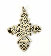 Tribal Pierced .925 Sterling Silver Cross Necklace Pendant Signed Woods