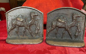 Vintage Bronzed Cast Iron Bookends Bedouin Leading Camel Pyramids & Palm Behind