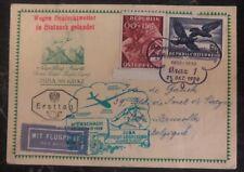1950 Graz Austria Glider Flight Postcard Cover Ffc Juba To Bruxelles Belgium