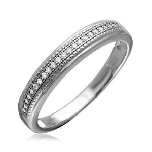 Men's Sterling Silver Cluster CZ Stones Wedding Band Ring