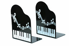 Heavy duty black metal music notation piano keyboard design bookends free post