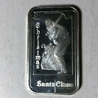 1993 Madison Mint, Christmas Santa Claus Baseball 1 Ounce .999 Silver Art Bar