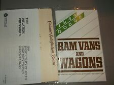 1984 Dodge Ram Vans and Wagons Owners Manual + 2 Suplements