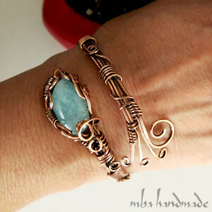Women's Natural Aquamarine Crystal Wire Wrapped Copper Cuff Handmade Bracelet