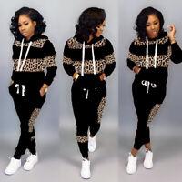 New Women Stylish Long Sleeves Leopard Patchwork Drawstring Casual Jumpsuit 2pcs