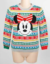 Disney Red Gray Cotton Child's Holiday Minnie Mouse Striped Ugly Sweater Sz 7/8