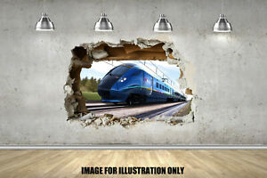 Bullet Train 3D Smash Childrens Wall Stickers Bedroom Decal Wall Art 4 Sizes