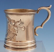 "Coin Silver Baby Cup Hand Chased with Leaves and Scrollwork 3"" Tall (#3025)"