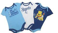 Kansas City Royals Mlb Genuine Baby Infant Size 3 Piece Creeper Bodysuit Set New
