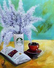 MARINA REHRMANN Original  Lavender Lilac Jasmine Flowers Starbucks Coffee Art 🧿
