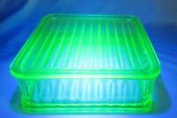 "VTG  Uranium Green Depression Glass Refrigerator Dish W/Cover  8.5'X8.5"""