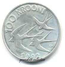 ESTONIA EESTI 100 KROONI 1992 RONDINI MONETA CORONE ARGENTO FDC