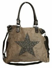 étoile paillettes sac pour femmes star fashion de courses à anses cuir suede